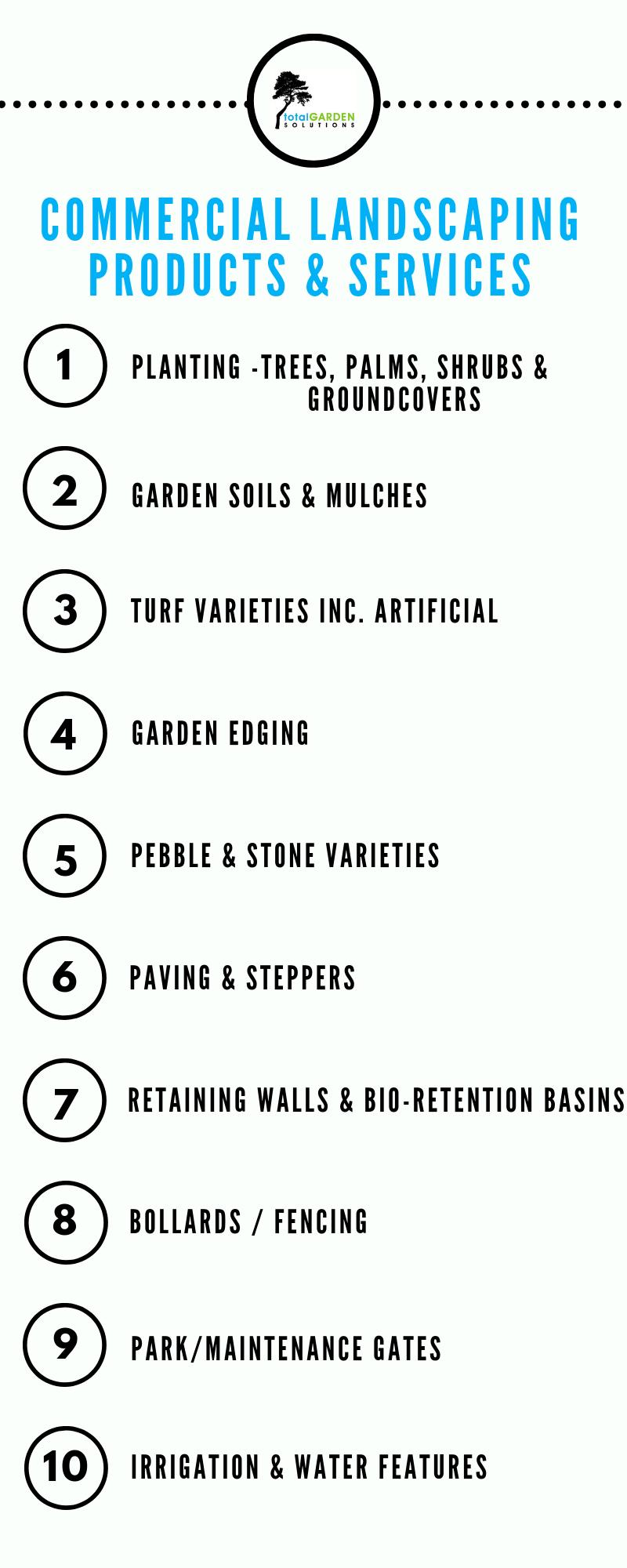 Planting-Trees, Shrubs and Groundcovers, Garden Soils & Mulch, Turf Varieties inc. Artificial, Garden Edge, Pebbles & Stones, Paving & Steppers, Retaining Walls, Bio-Retention Basins, Bollards, Fencing, Park & Maintenance Gates, Irrigation & Water Features